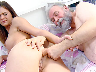 Alyona bends over and he finger her ass and fucks her ass doggiestyle nice and hard